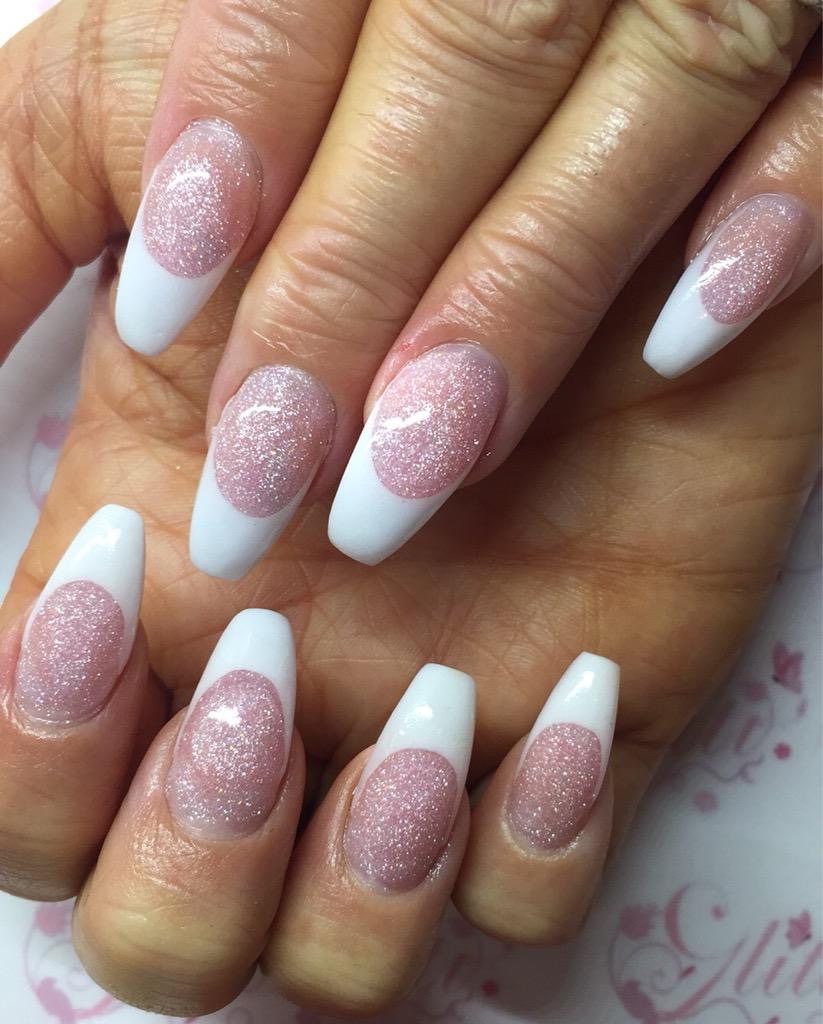 Acrylics with Gelish french using Ambiance for the sparkle